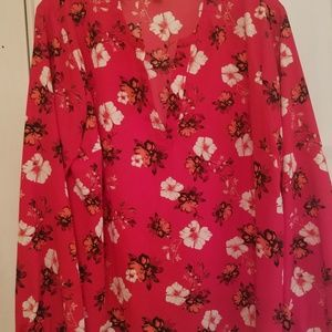 Tops - Blouse silky feel Red with flowers